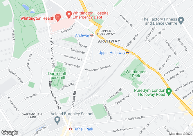 Map for Pemberton Gardens, Archway, London, Greater London, N19