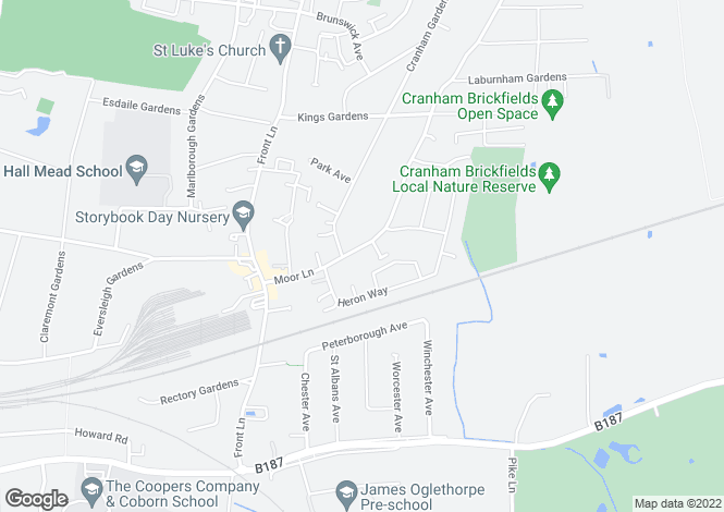 Map for Moor Lane, Cranham, Upminster, Essex, RM14