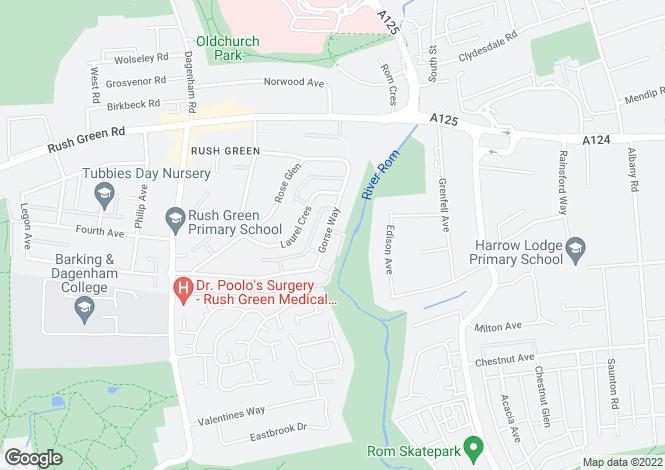 Map for Rush Green, Romford