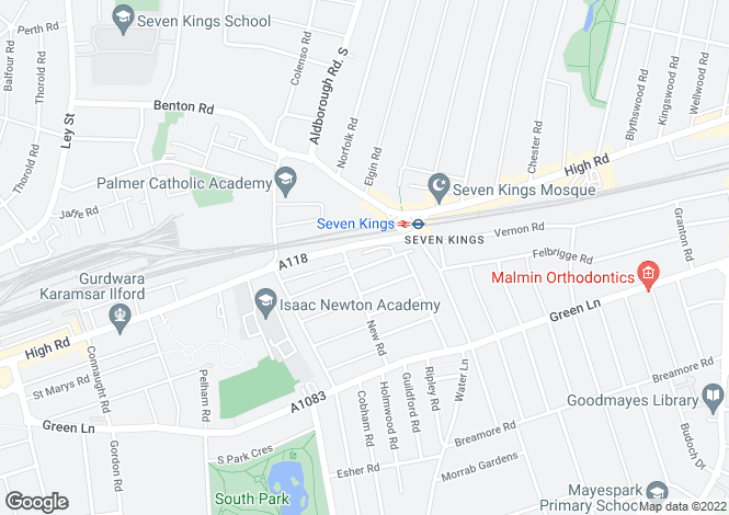 Map for Swindon Close, Seven Kings, Ilford