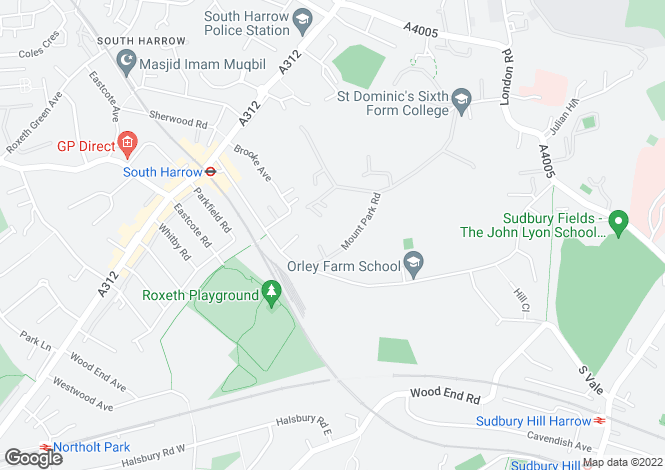 Map for Mount Park Road, Harrow on the Hill, HA1