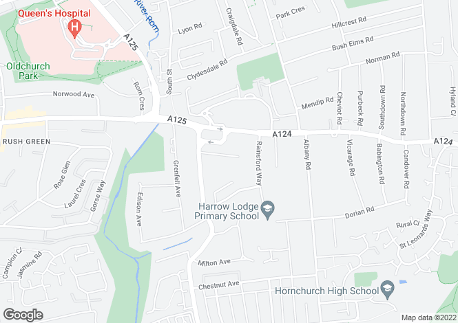 Map for Hayburn Way, Hornchurch