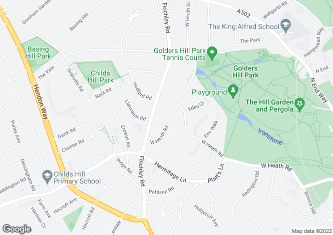 Map for West Heath Road, Hampstead, London, NW3