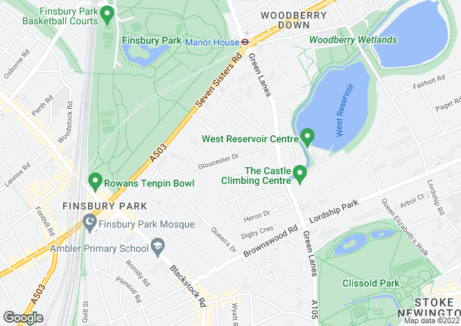 Map for Gloucester Drive, N4