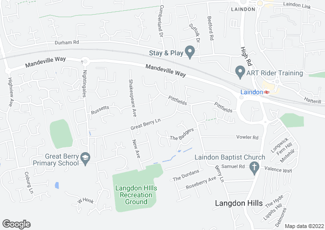 Map for Langdon Hills, Basildon, Essex