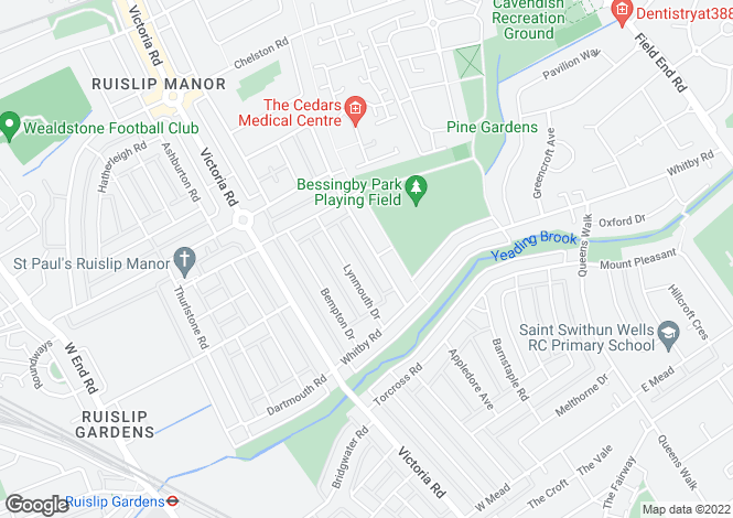 Map for Beverley Road, Ruislip Manor, HA4