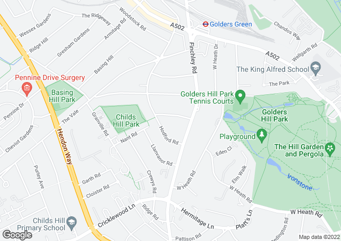 Map for Wycombe Gardens, Golders Green, Hampstead Borders, London, NW11