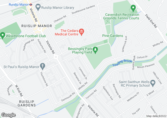 Map for Beverley Road, Ruislip