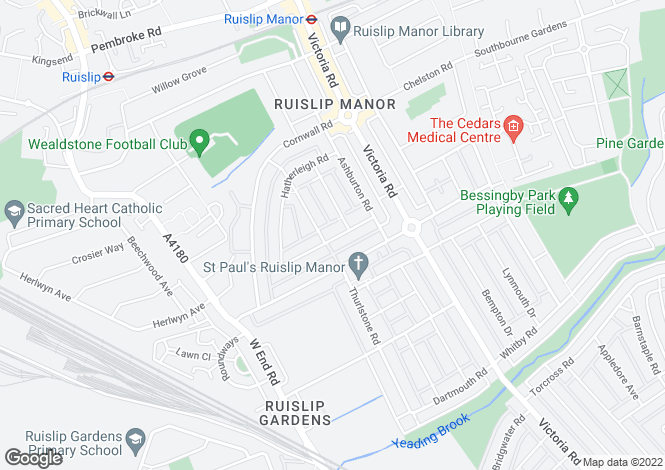 Map for Seaton Gardens, Ruislip, Middlesex, HA4