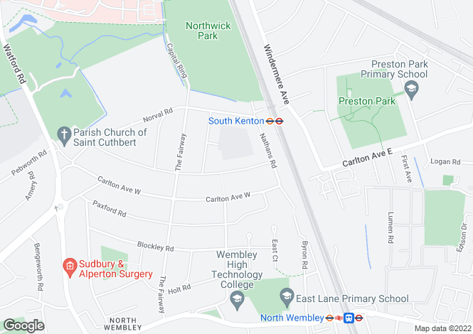 Map for Abbotts Drive, Wembley, Middlesex