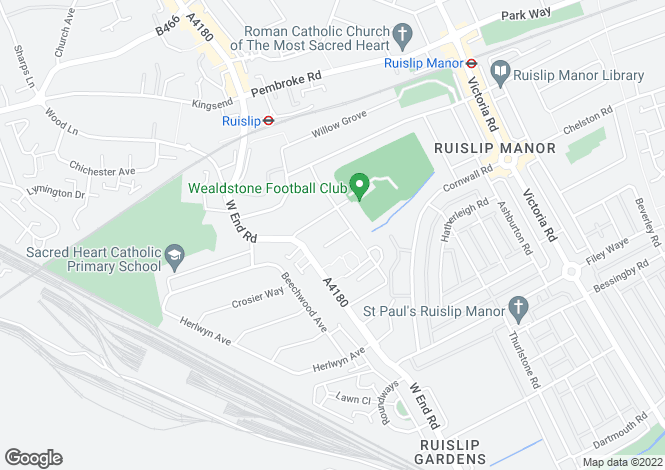 Map for Courtfield Gardens, Ruislip, HA4