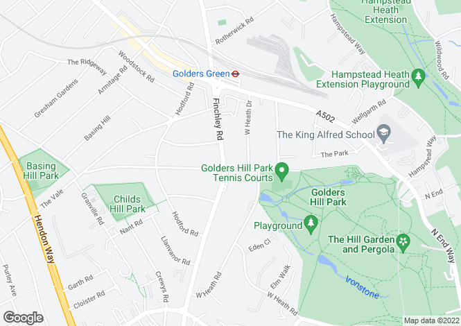 Map for Heathside, Finchley Road, Golders Green