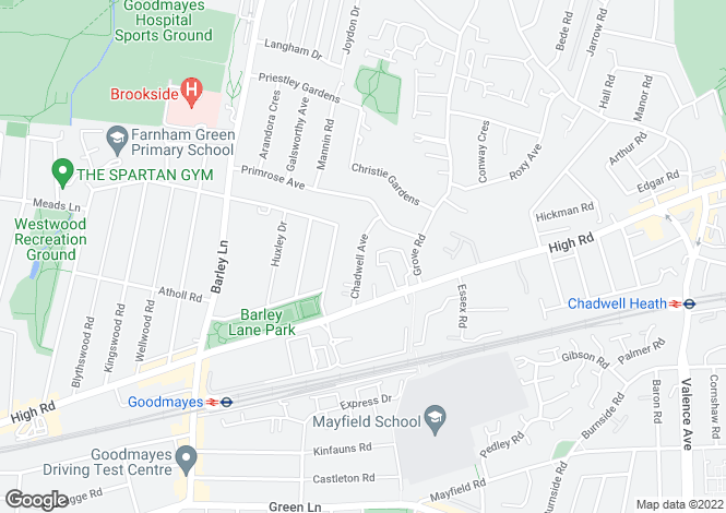Map for Chadwell Avenue, Chadwell Heath