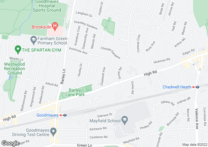 Map for Chadwell Avenue, Chadwell Heath, Romford, RM6