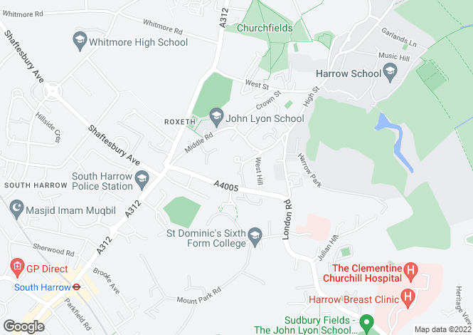 Map for Brickfields  Harrow on the Hill