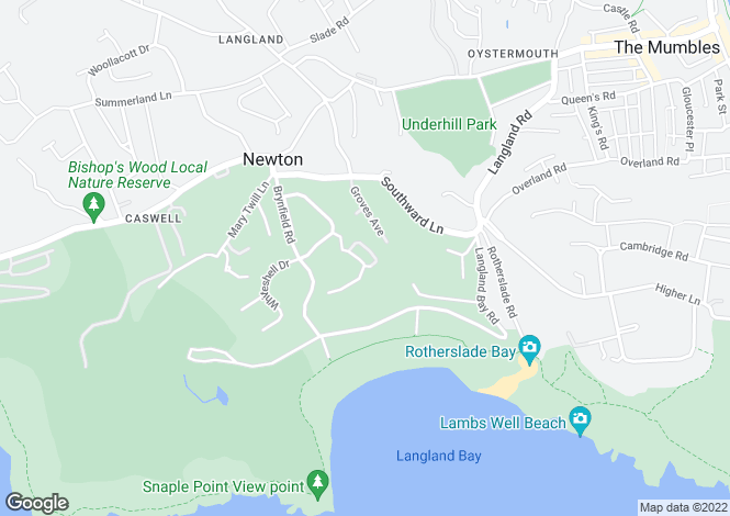 Map for Brynfield Court, Langland, Swansea