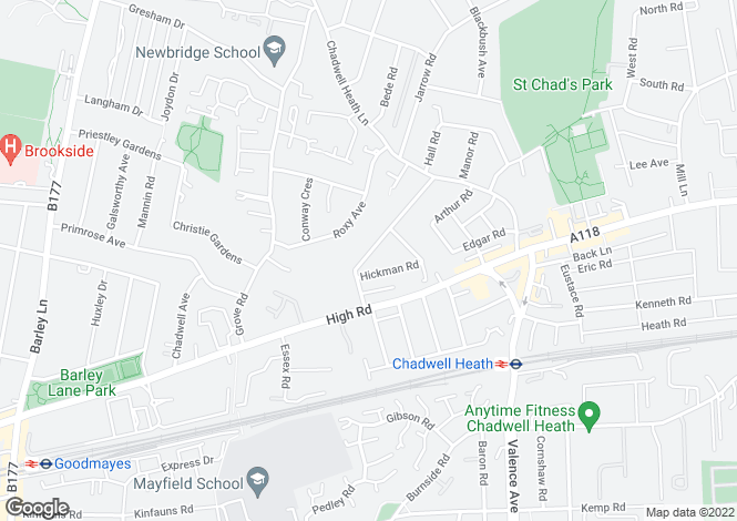 Map for Reynolds Avenue, Chadwell Heath, ROMFORD, Essex
