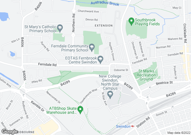 Map for Ferndale Road, SWINDON