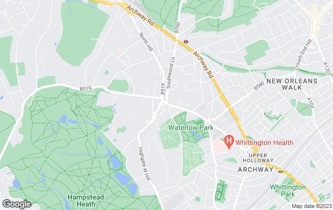 Map for Day Morris, Highgate