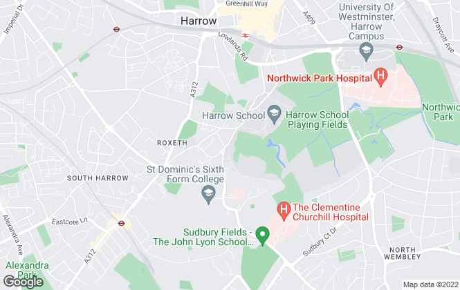 Map for Wilson Hawkins, Harrow on the Hill