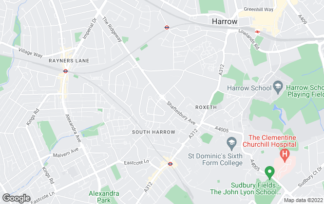 Map for Harringtons Estates, Harrow