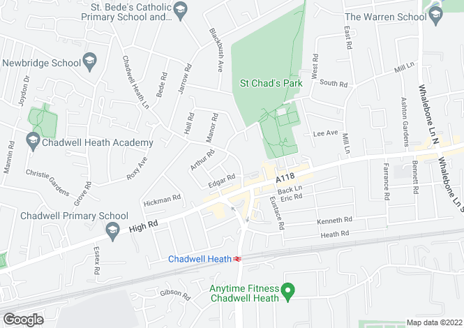 Map for Chadwell Heath, Essex