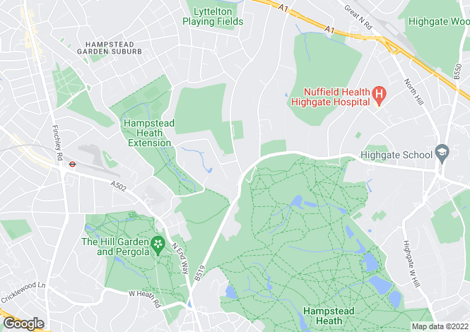 Map for Winnington Road, Hampstead Garden Suburb