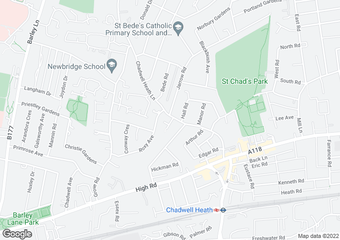 Map for Chadwell Heath Lane, Chadwell Heath, Essex