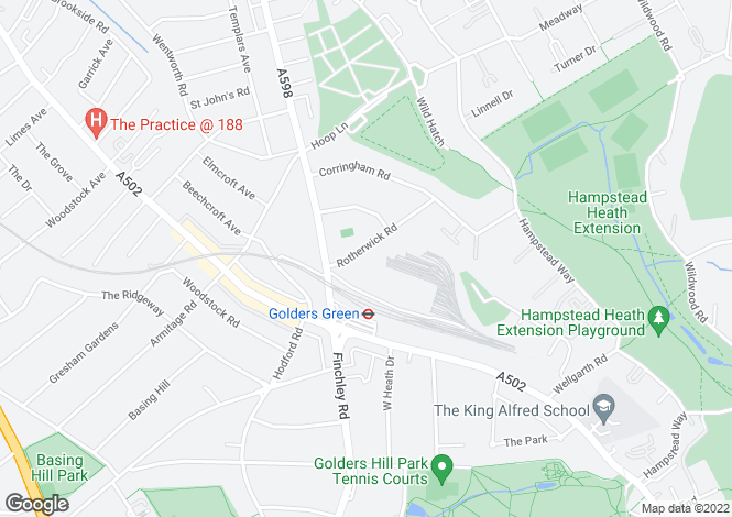 Map for Rotherwick Road, Golders Green