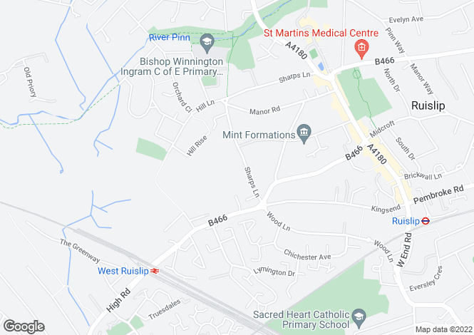 Map for Sharps Lane, Ruislip, Middlesex, HA4