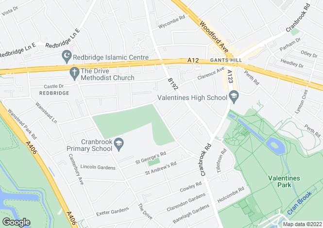 Map for Cranbrook Rise, Gants Hill, IG1