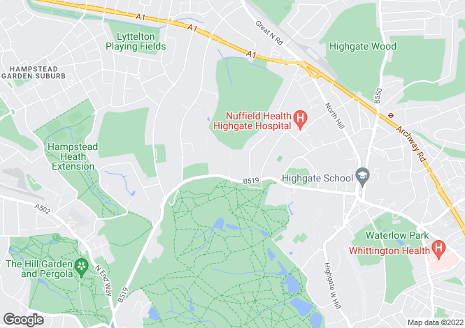 Map for Compton Avenue, Kenwood, London N6 4LB