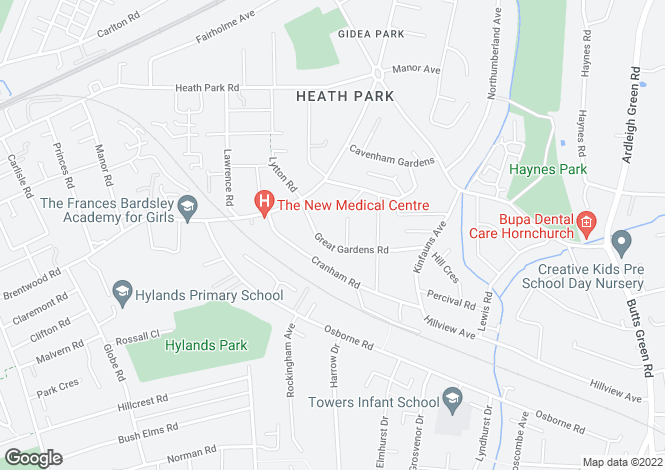 Map for Great Gardens Road, Hornchurch, London, RM11