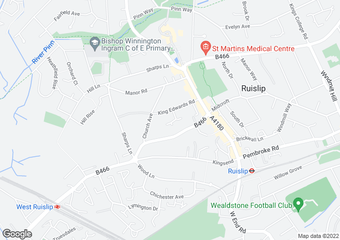Map for Monarchs Way, Ruislip, Middlesex, HA4