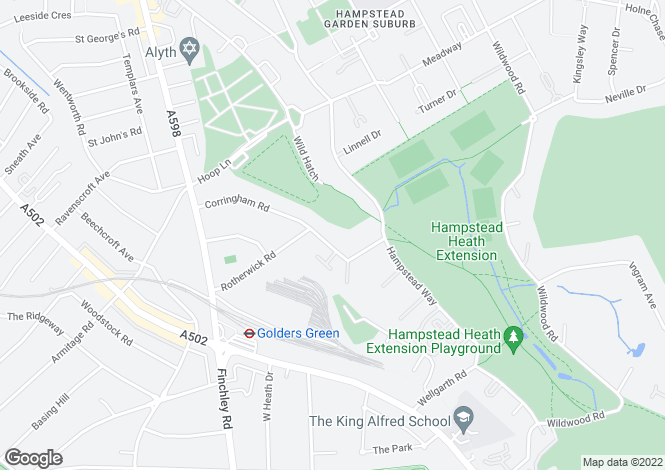 Map for Corringham Road, Hampstead Garden Suburb