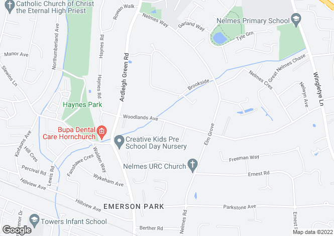 Map for Woodlands Avenue,