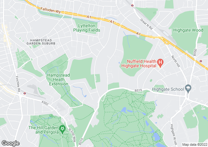 Map for The Bishops Avenue, Hampstead Garden Suburb, London