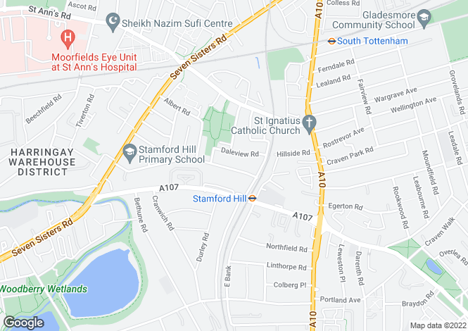 Map for Vartry Road Stamford hill