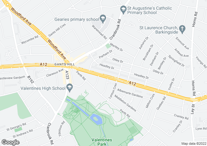 Map for EASTERN AVENUE GANTS HILL IG2