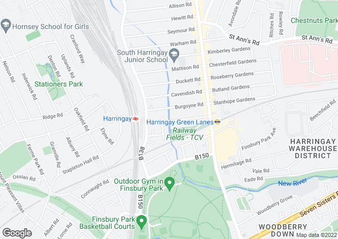 Map for Umfreville Road, Harringay