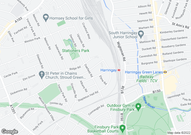 Map for Mount View Road, Stroud Green, N4
