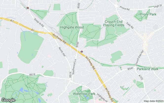 Map for Barbara Gibson Properties, Highgate