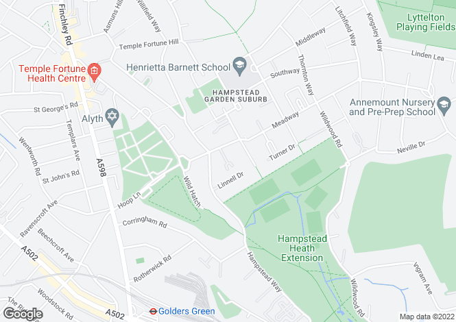 Map for Linnell Close, London, NW11
