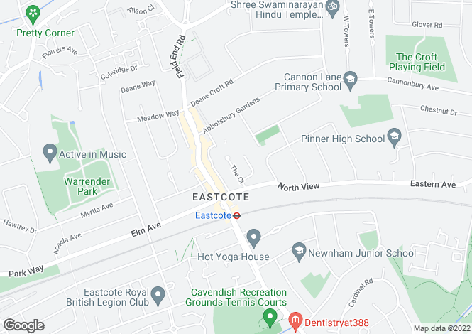 Map for The Close, Eastcote, Pinner, Middlesex, HA5