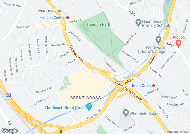 Map for Hendon Way, NW4