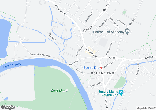 Map for Oakfield Road, Bourne End, Buckinghamshire, SL8