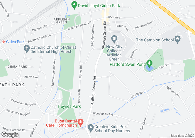 Map for Ardleigh Green Road, Hornchurch, RM11