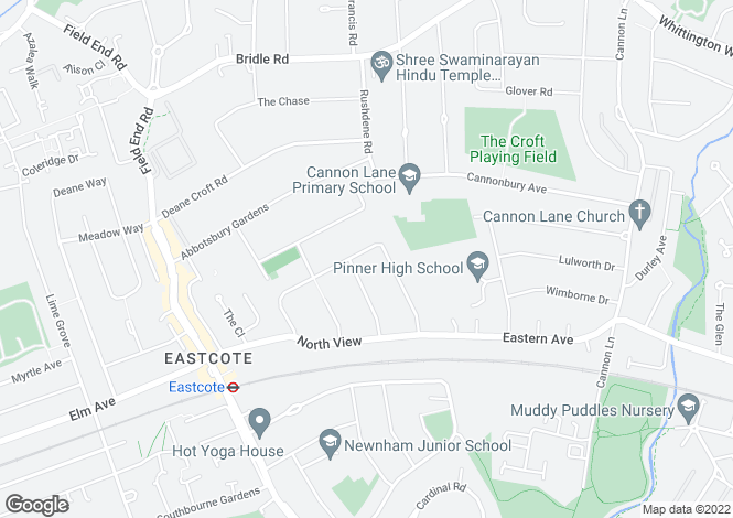 Map for Boldmere Road, Eastcote, Pinner, Middlesex, HA5