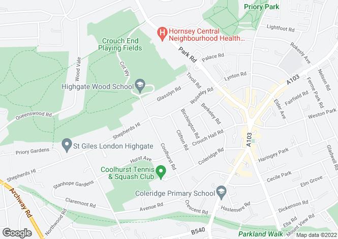 Map for Wolseley Road, Crouch End