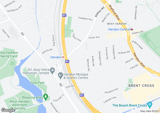 Map for Montagu Road, London, NW4